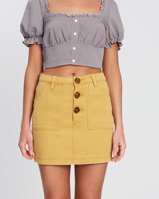 Missguided Tortoise Shell Button-Through Denim Skirt