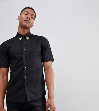 Reclaimed Vintage Inspired Shirt With Collar Tips And Short Sleeves