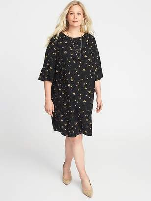 Old Navy Floral-Print 3/4-Sleeve Plus-Size Shift Dress