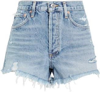 A Gold E Agolde Parker Cut-Off Denim Shorts