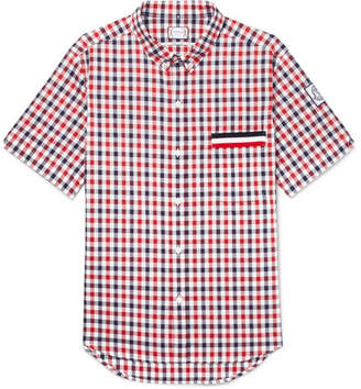 Moncler Gamme Bleu Button-Down Collar Checked Cotton Shirt