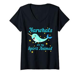 Womens Cool Narwhals Are My Spirit Animal | Funny Sea Creature Gift V-Neck T-Shirt