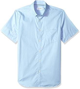 Lacoste Men's Short Sleeve Pocket Mini Pique Regular Fit Woven Shirt