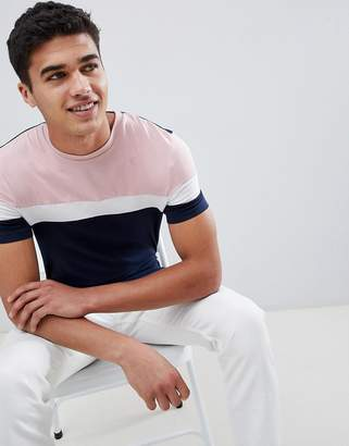 Asos Design DESIGN muscle fit t-shirt with colour block in navy