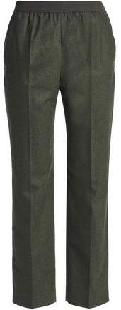 Mélange Wool-Blend Straight-Leg Pants
