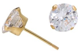 Brilliance+ Brilliance Fine Jewelry 10kt Yellow Gold 5mm Round CZ Stud Earrings
