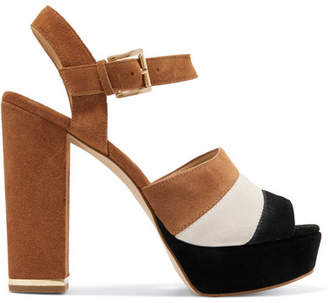 MICHAEL Michael Kors Anise Striped Suede Platform Sandals - Tan