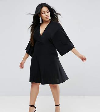 Club L Plus Flutter Sleeve Dress With Mini Skater Skirt