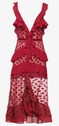 For Love & Lemons Dotty Red Cocktail Dress