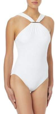 MICHAEL Michael Kors Iconic Solids Highneck One-Piece Swimsuit