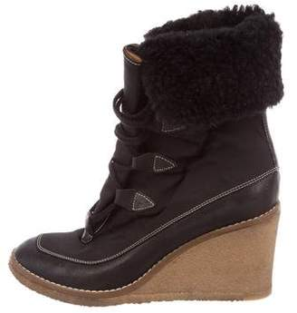 Chloé Shearling-Lined Wedge Ankle Boots