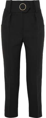 Petar Petrov Velvet-trimmed Wool Straight-leg Pants - Black