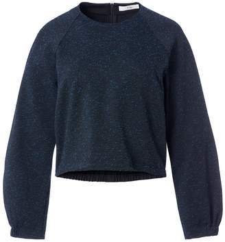 Tibi Eclipse Pique Cropped Sweatshirt