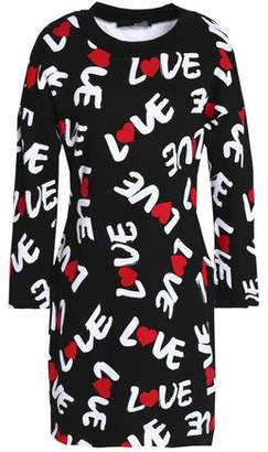 Best Deals Cheap Sale Explore Love Moschino Woman Printed Cotton-jersey Dress Black Size 42 Love Moschino Shop For BKbwv0A8W
