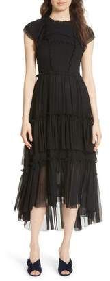 Ulla Johnson Lenore Smocked Silk Cloque Dress