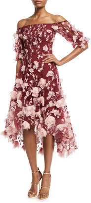 Off-the-Shoulder 3D-Floral High-Low Cocktail Dress
