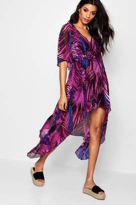 boohoo Hanky Hem Palm Print Maxi Dress