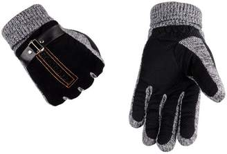 Yingniao Men's Suede Leather Thermal Plush Lined Winter Gloves With Elasticated