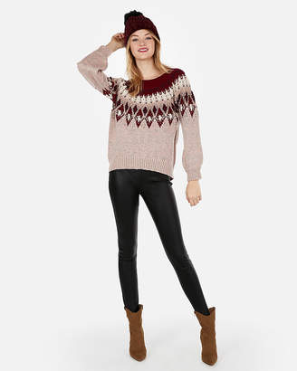 Express Petite Metallic Aztec Pull Over Sweater
