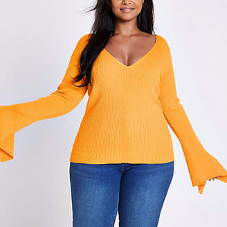 River Island Plus yellow rib knit wide sleeve V neck top