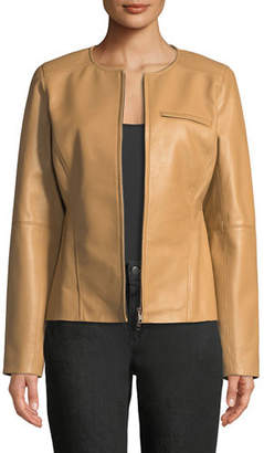 Eileen Fisher Drapey Zip-Front Shaped Leather Jacket