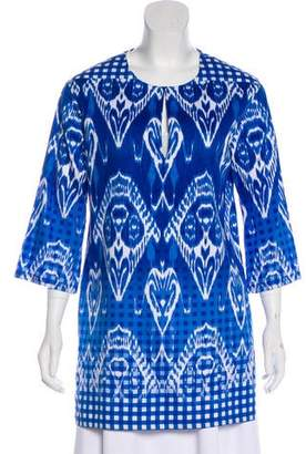 Oscar de la Renta Printed Long Sleeve Tunic