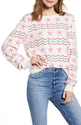 Wildfox Couture Sea Stars & Stripes Baggy Beach Pullover