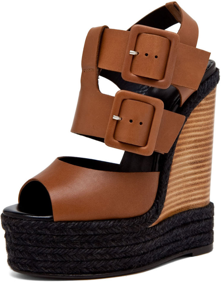 Pierre Hardy Leather Wedge in Tan