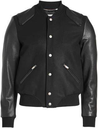 Saint Laurent Teddy Virgin Wool Blouson with Leather Sleeves