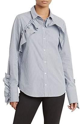 Kenneth Cole Women's Ruffle Detail Poplin Shirt
