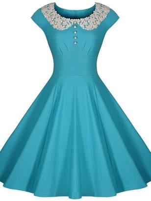 Wenseny Women Dresses Short Sleeve Fold Waist Vintage Party Swing Dress