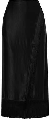 Etro Wrap-effect Fringed Satin Midi Skirt - Black