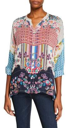 Johnny Was Patch Button-Front Mixed-Print Blouse