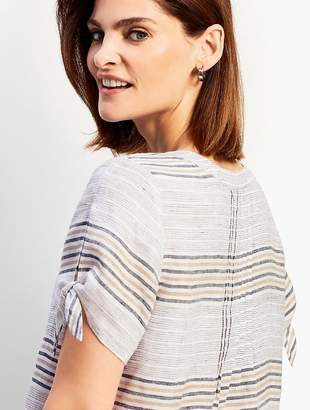 Talbots Reef Stripe Linen Tie-Sleeve Shirt