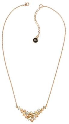 Karl Lagerfeld Rose Gold Plated Swarovski Crystal Accented Pyramid Cluster V Necklace