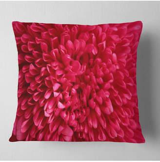 """Aster Designart Pink Flower Petals Close Up Floral Throw Pillow - 16"""" X 16"""""""