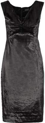 Milly Mandy Twist-Front Cutout Crushed-Velvet Dress