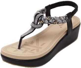 558888e2ff1cf at Amazon Canada · Wentsven Women Bling Beaded Sandles Platform Wedge Thong  Sandals 7 B(M)
