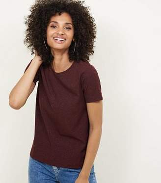 New Look Burgundy Metallic Ribbed Boxy T-Shirt
