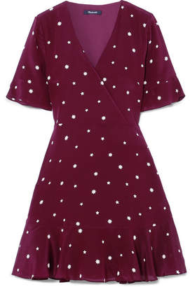 Madewell Printed Silk Mini Dress - Burgundy