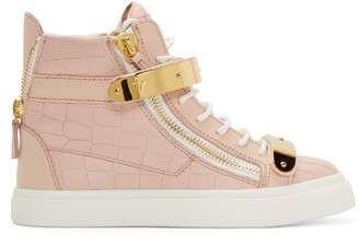 Giuseppe Zanotti SSENSE Exclusive Pink Croc-Embossed Leather Ringo Sneakers $795 thestylecure.com