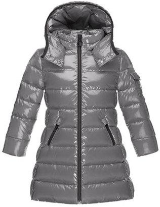 Moncler Moka Down Puffer Coat, Platinum, Size 8-14 $620 thestylecure.com