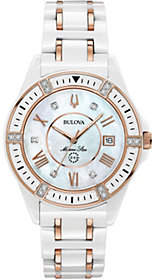 Bulova Women's Ceramic Rosetone Marine Star Diamond Watch $770 thestylecure.com