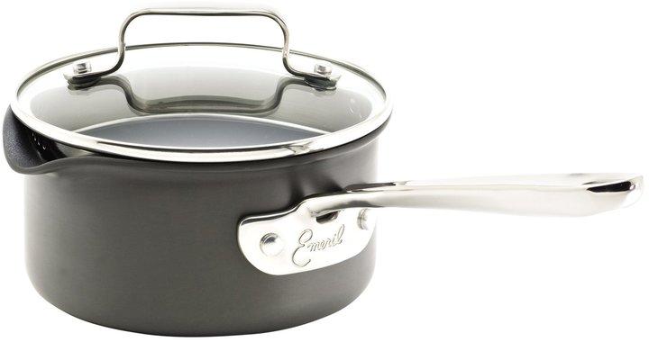 Emerilware Emeril 1 Quart Hard Anodized Nonstick Sauce Pan w/ Pour Spouts & Lid