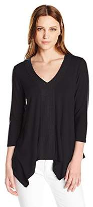 Adrianna Papell Women's Solid 3/4 Sleeve Vneck Embroidery