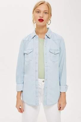 Topshop Fitted Denim Shirt
