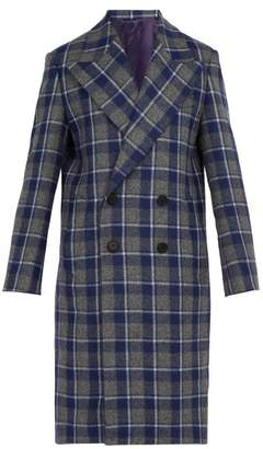 Wooyoungmi Checked Wool Overcoat - Mens - Blue Multi