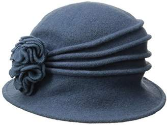 Scala Women's Boiled Wool Cloche Hat with Flower