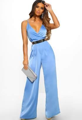 47f0b3c95d0f Pink Boutique Look At Me Blue Satin Wrap Front Wide Leg Jumpsuit