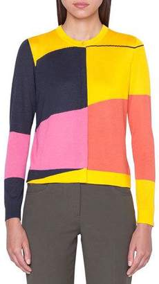 Akris Sunrise-Colorblock Cashmere Cardigan